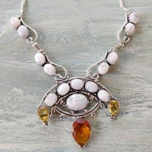 Beautiful natural moonstone  citrine necklac